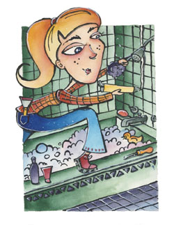 This is a graphic of a woman installing a tile shower.